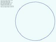 Screenshot von handgemaltem Kreis. Der aus der Zeichnung berechnete und darübergelegte Kreis hat die folgenden Analysewerte: Points drawn (higher=better): 2.374 Radius (higher=better): 598 Sum of errors (lower=better): 2.727 Error/point (lower=better): 1,15 Disbalance (lower=better): 34,8 Total score (higher=better): 52.462.493